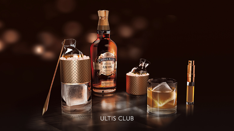 The Braeval malt and its floral influence on Chivas Regal Ultis are highlighted in Ultis Club, which exudes flavours of honey and citrus.