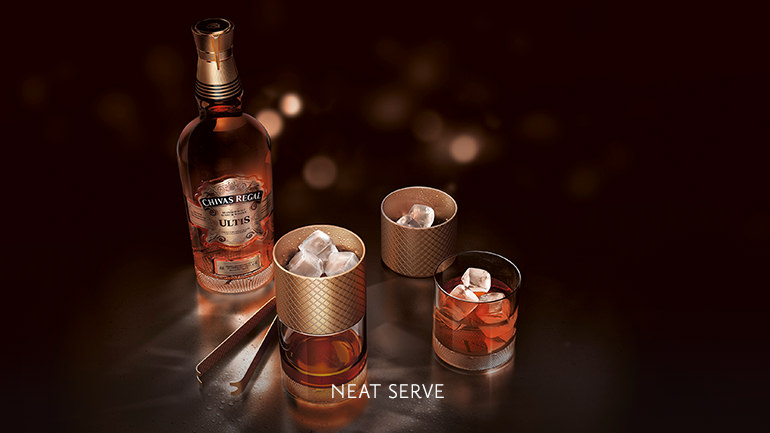 Experience the true essence of Chivas Regal. Enjoy a glass of Ultis without ice or water.