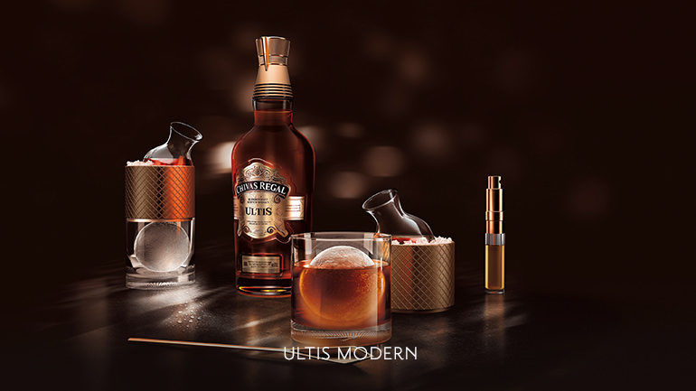 The Chivas Regal Ultis Modern is made with orange bitters, sloe gin & a touch of vanilla liqueur.